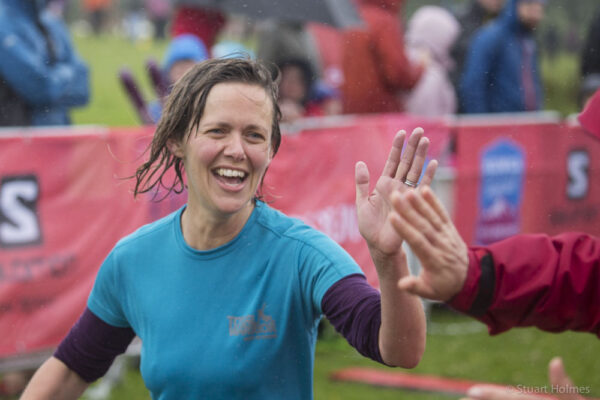 High fives from runners