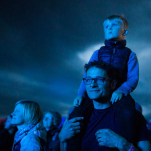 Father and son enjoy live music