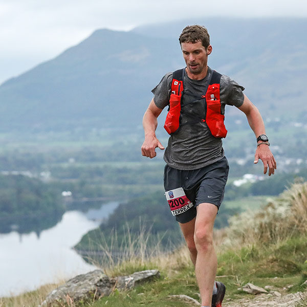 Runner with views of Derwentwater as backdrop