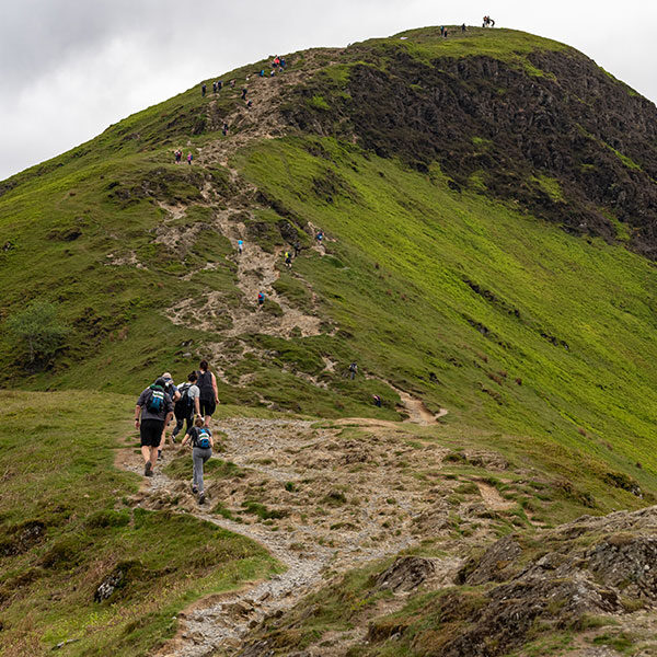 Ascent to Cat Bells during Three Peaks Hike