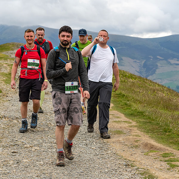 Group of make competitors enjoying Three Peaks Hike